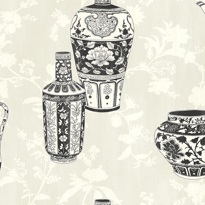 Nina Hancock Vases Charcoal Wallpaper - NH11500