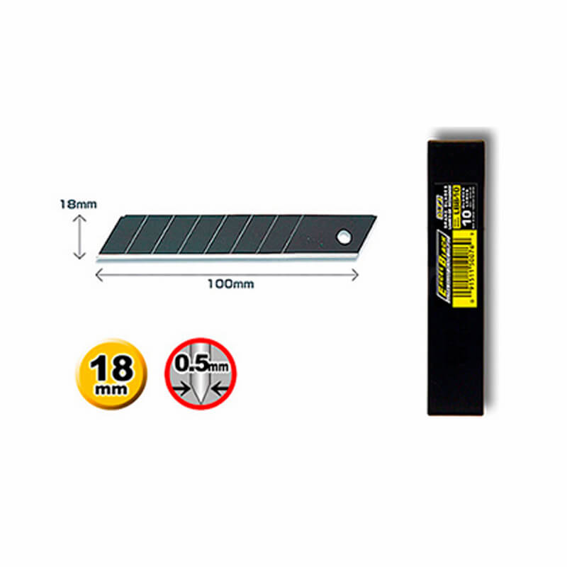 Olfa Heavy Duty Excel Black  Blades 18mm - Pack of 10