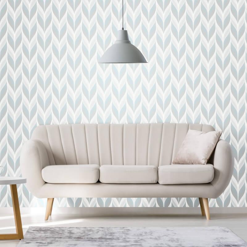 P&S International Geometric Feather Blue/Grey Wallpaper - 13591-10