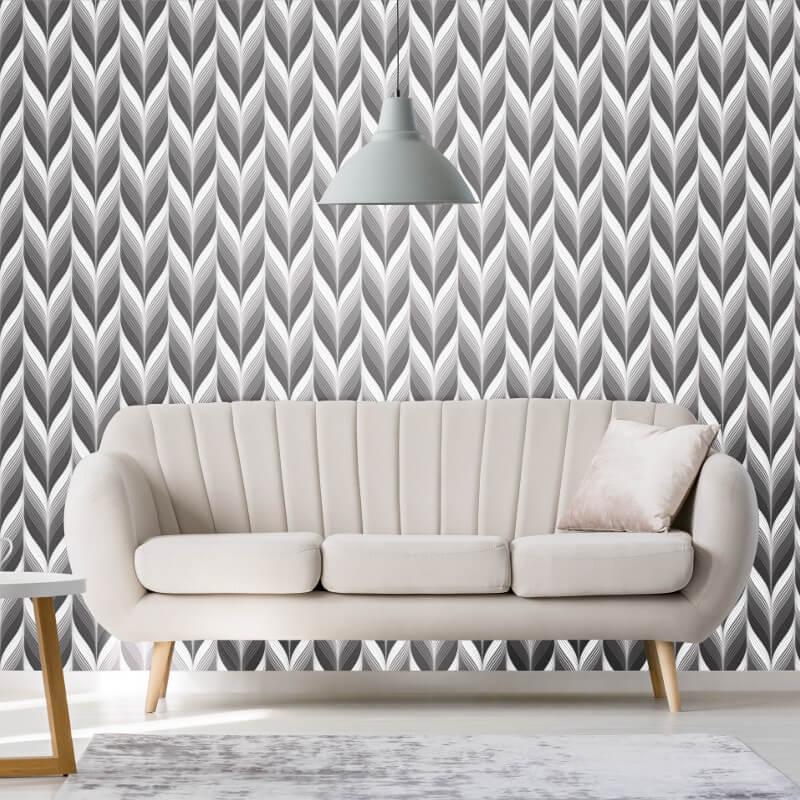 P&S International Geometric Feather Grey/Black Wallpaper - 13591-40