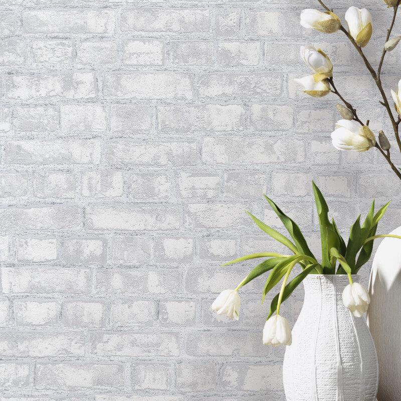 PS International Rustic Brick Grey Wallpaper 1347410