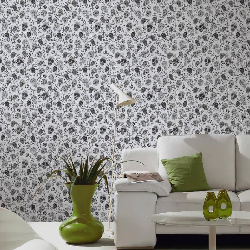 P&S International Skulls Rose White Glitter Wallpaper - 13383-20
