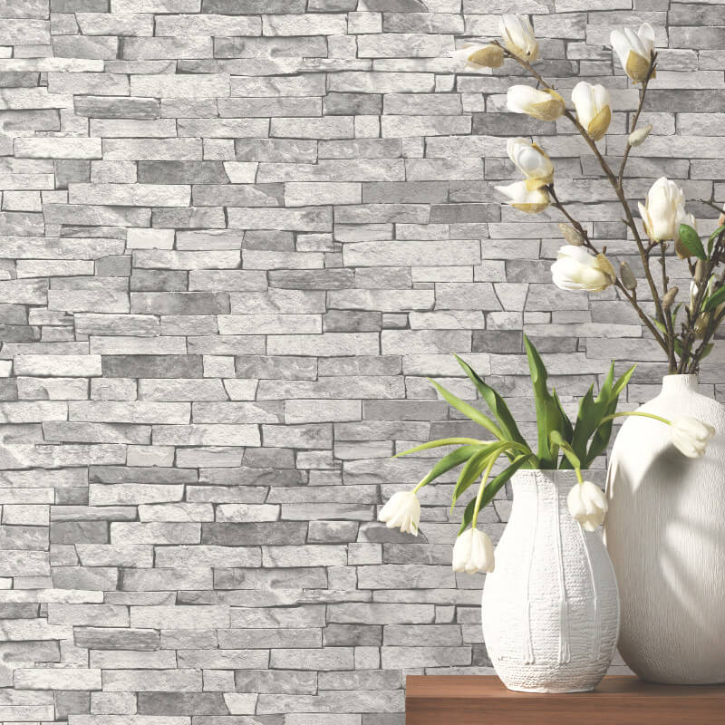 P&S International Slate Wallpaper in Light Grey - 05546-20