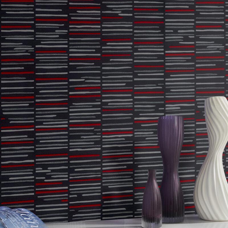 P&S International Stripe Red/Black Glitter Wallpaper - 13384-10