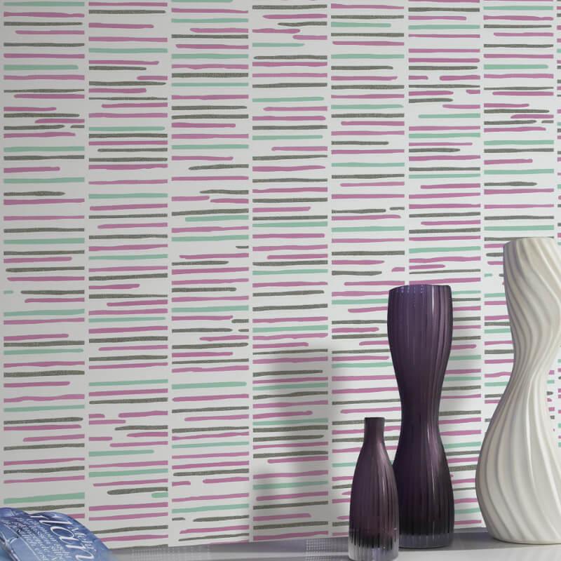 P&S International Stripe White/Pink Glitter Wallpaper - 13384-30