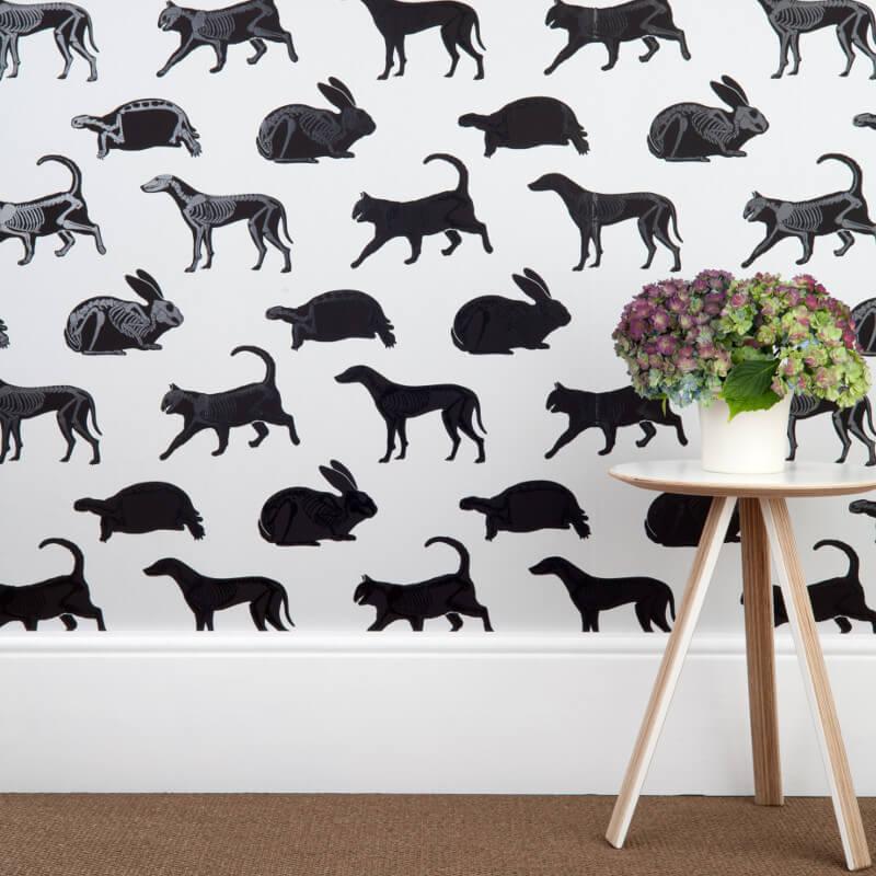 PaperBoy Animal Magic Grey Wallpaper
