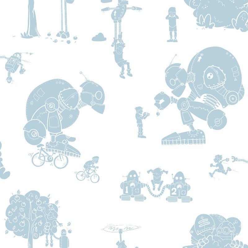 PaperBoy Brave New World White/Pale Blue Wallpaper