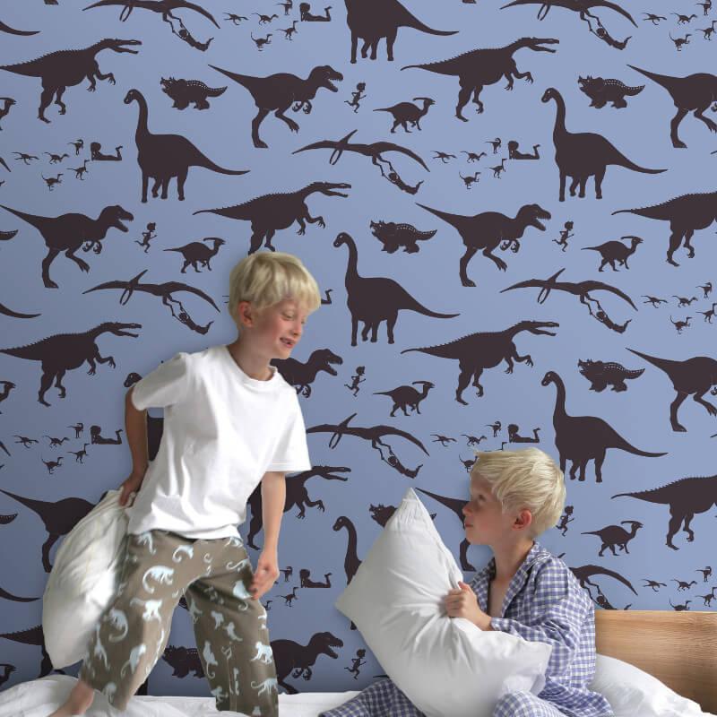 PaperBoy D'ya-think-e-saurus Blue Wallpaper