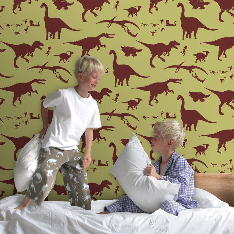 PaperBoy D'ya-think-e-saurus Green Wallpaper