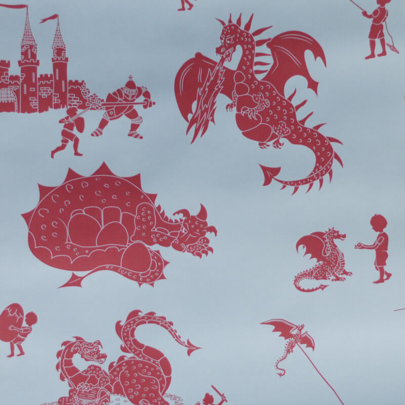 PaperBoy Ere-be-dragons Blue/Red Wallpaper