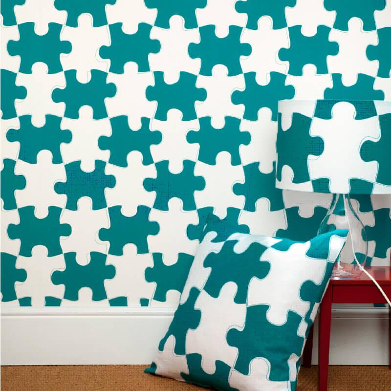 PaperBoy It's a Puzzle Blue/White Wallpaper