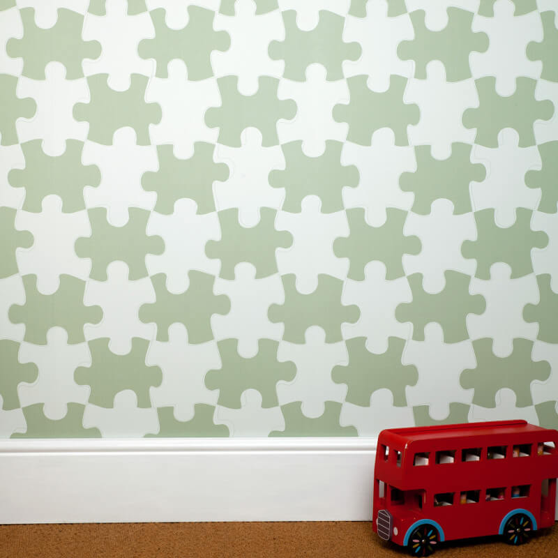 PaperBoy It's a Puzzle Green Wallpaper
