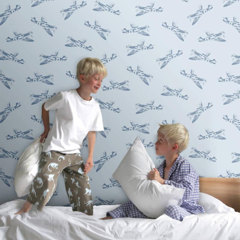PaperBoy Spitfires Blue Wallpaper