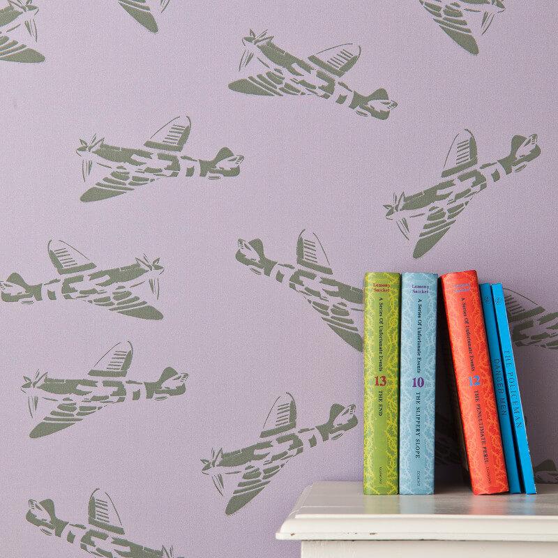 PaperBoy Spitfires Lilac Wallpaper