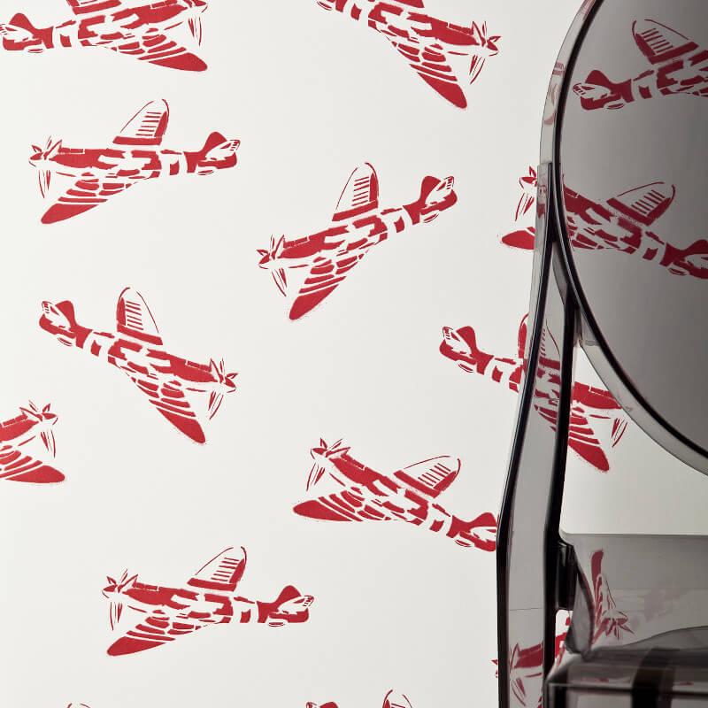PaperBoy Spitfires White Wallpaper