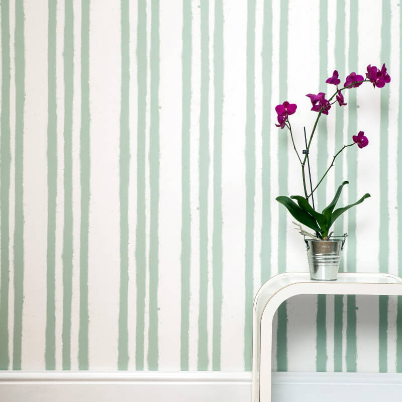 PaperBoy Stripes Cream/Green Wallpaper
