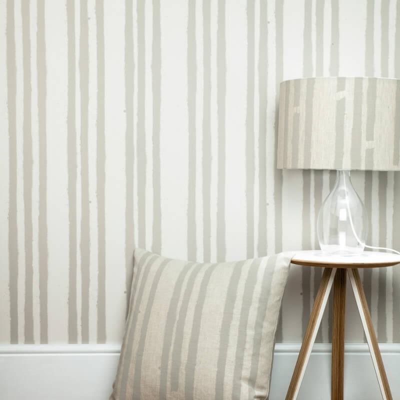PaperBoy Stripes Stone/Brown Wallpaper