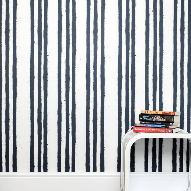 PaperBoy Stripes White/Blue Wallpaper