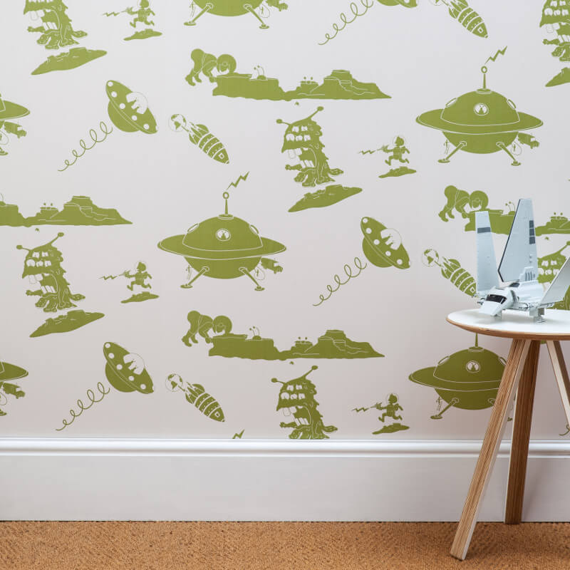 PaperBoy The Final Frontier Cream/Green Wallpaper