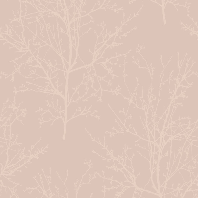 Pear Tree Bead Branches Rose Gold Wallpaper - UK11501