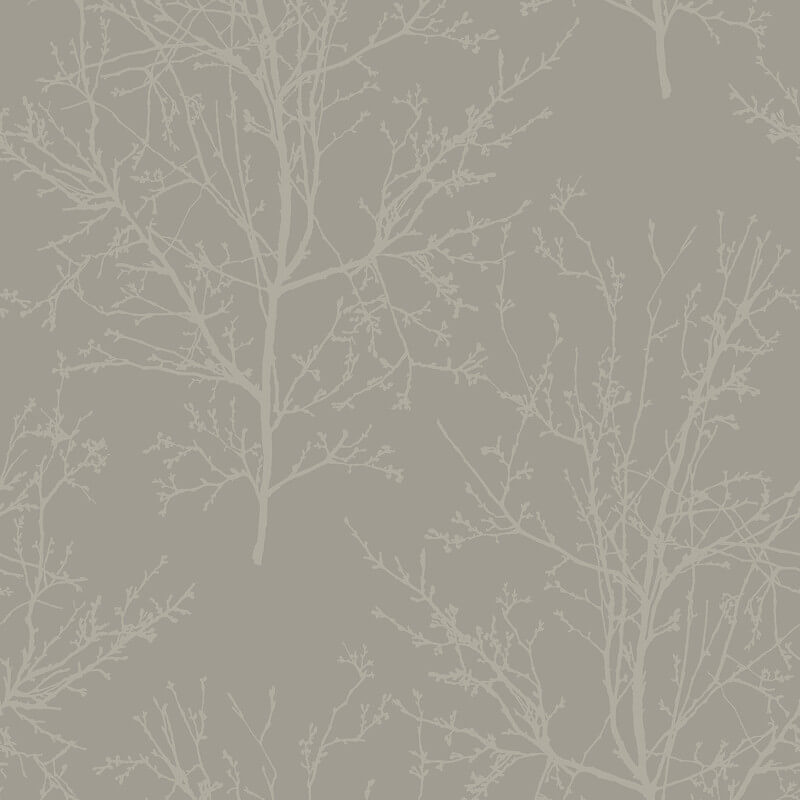Pear Tree Bead Branches Silver Wallpaper - UK11508