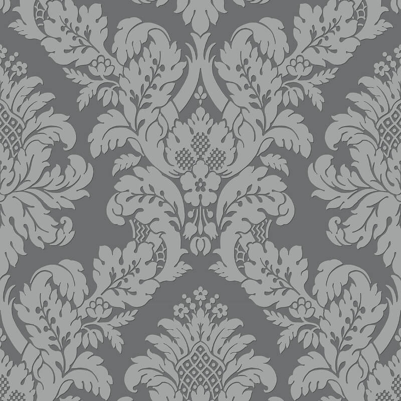 Pear Tree Fabric Damask Grey/Silver Glitter Wallpaper - UK10435
