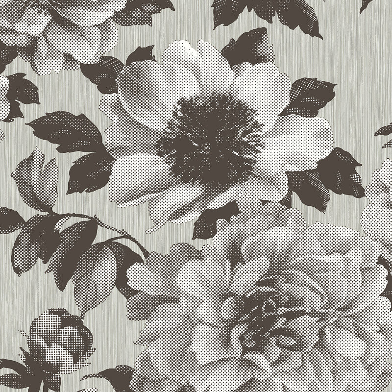 Pear Tree Halftone Floral Chocolate/Silver Wallpaper - UK11105