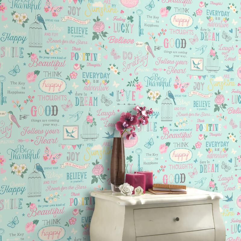 Rasch Inspiration Bird and Flowers Wallpaper in Duck Egg - 216714