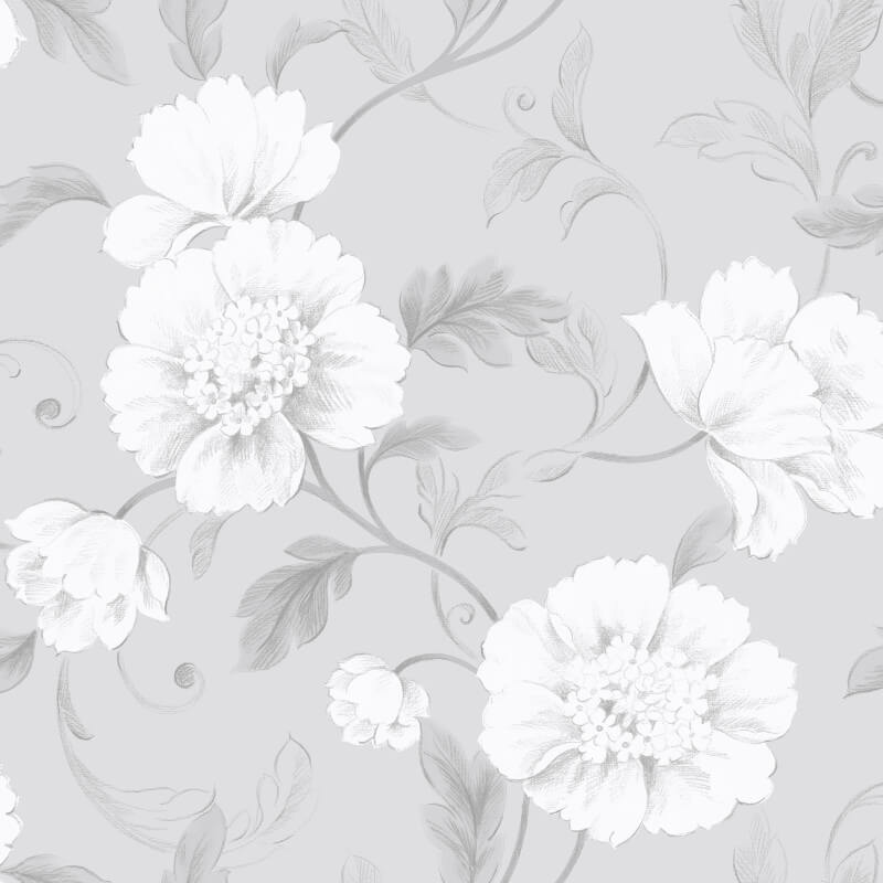 Rasch boutique floral grey wallpaper 226188 for Black and grey wallpaper designs