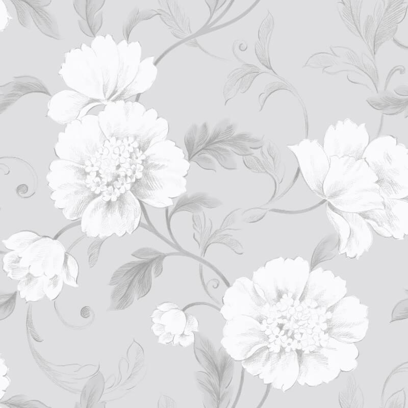 Rasch Boutique Floral Grey Wallpaper - 226188