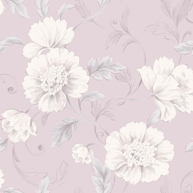 Rasch Boutique Floral Pink/Mauve Wallpaper - 226171