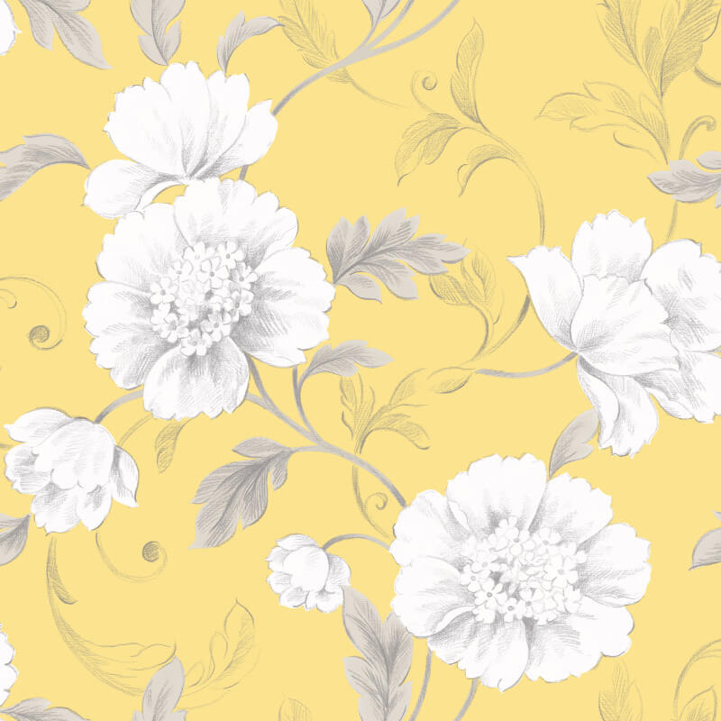 Rasch Boutique Floral Yellow Wallpaper - 226164