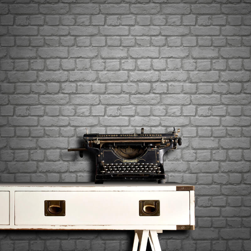 Rasch Brick Effect Dark Grey Wallpaper - 226720