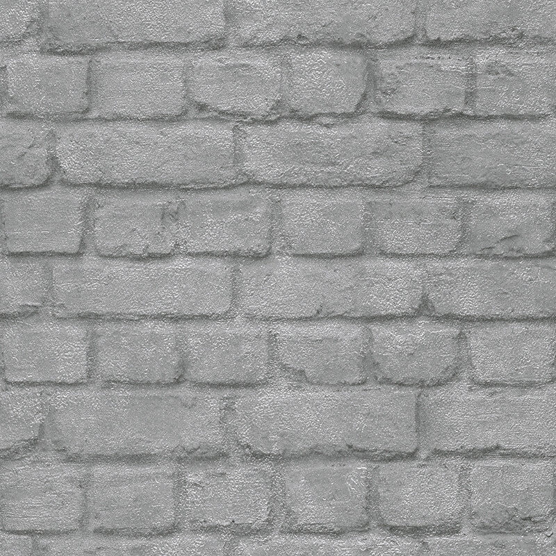 Rasch Brick Effect Silver Wallpaper - 226751