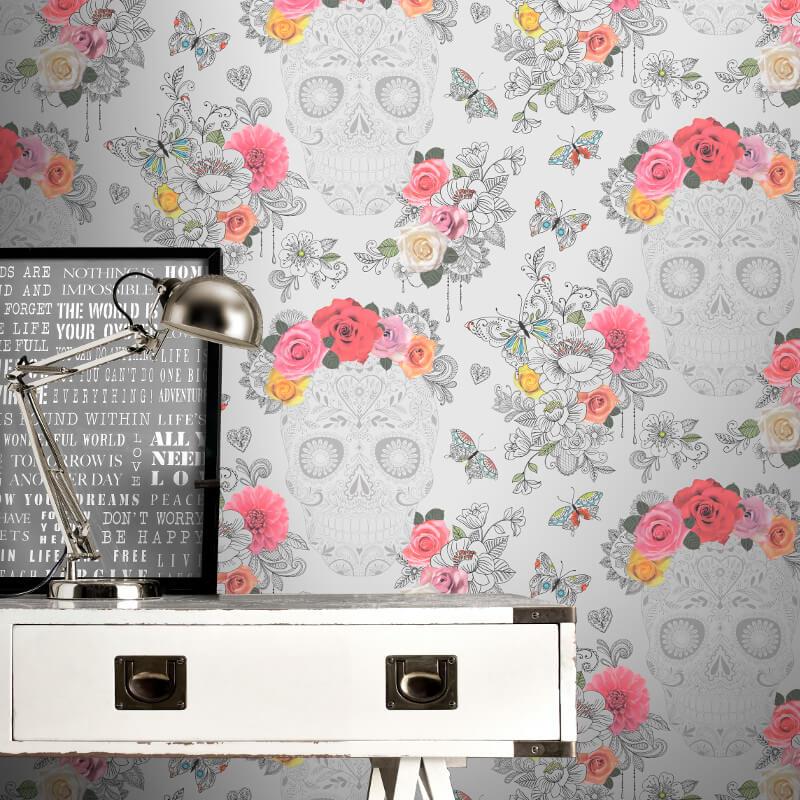 Rasch Calavera Sugar Skulls Grey Wallpaper - 278033