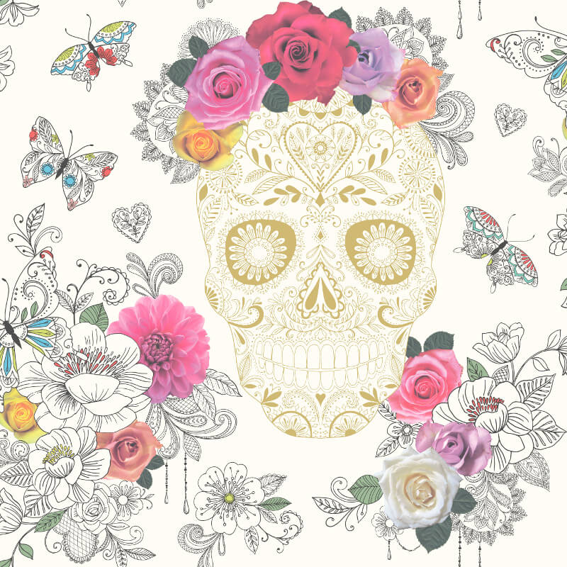 Rasch Calavera Sugar Skulls White Wallpaper - 278026