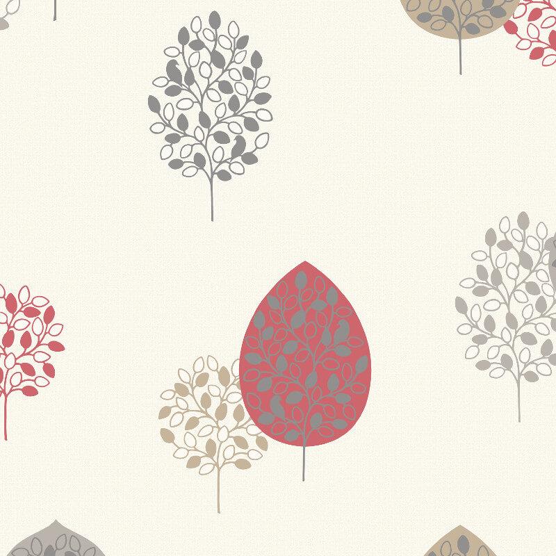 Rasch Casablanca Treebird Red Glitter Wallpaper - 309515