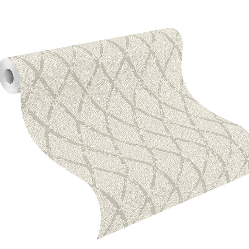 Rasch Diamond Geometric Off White/Taupe Wallpaper - 805413