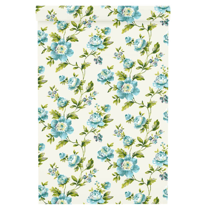 Freundin Ditsy Floral Blue/Cream Wallpaper - 442212