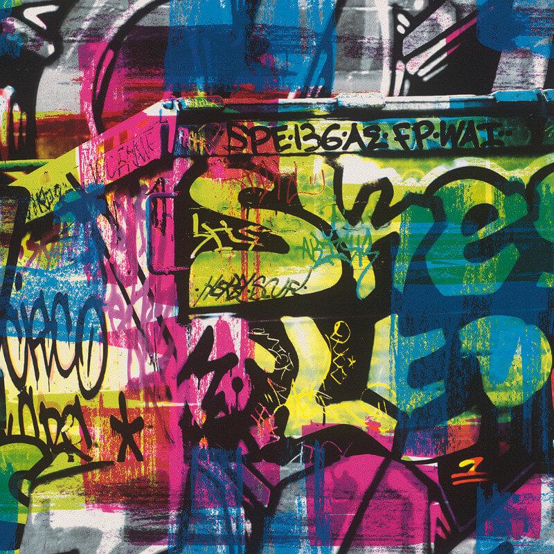 Rasch Graffiti Multi Wallpaper - 291506