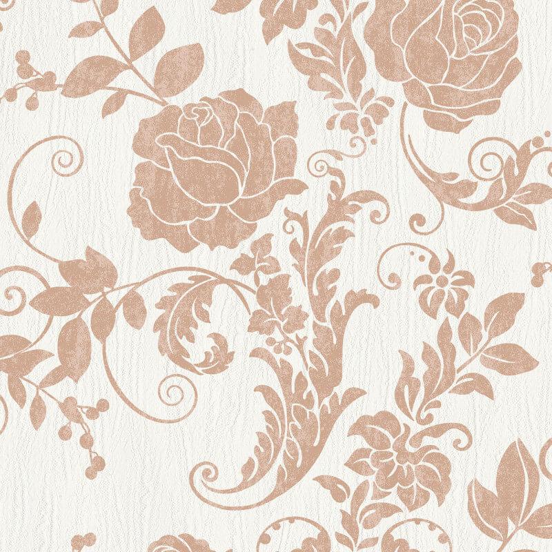 Rasch Incanto Floral Rose Copper Glitter Wallpaper - 308426