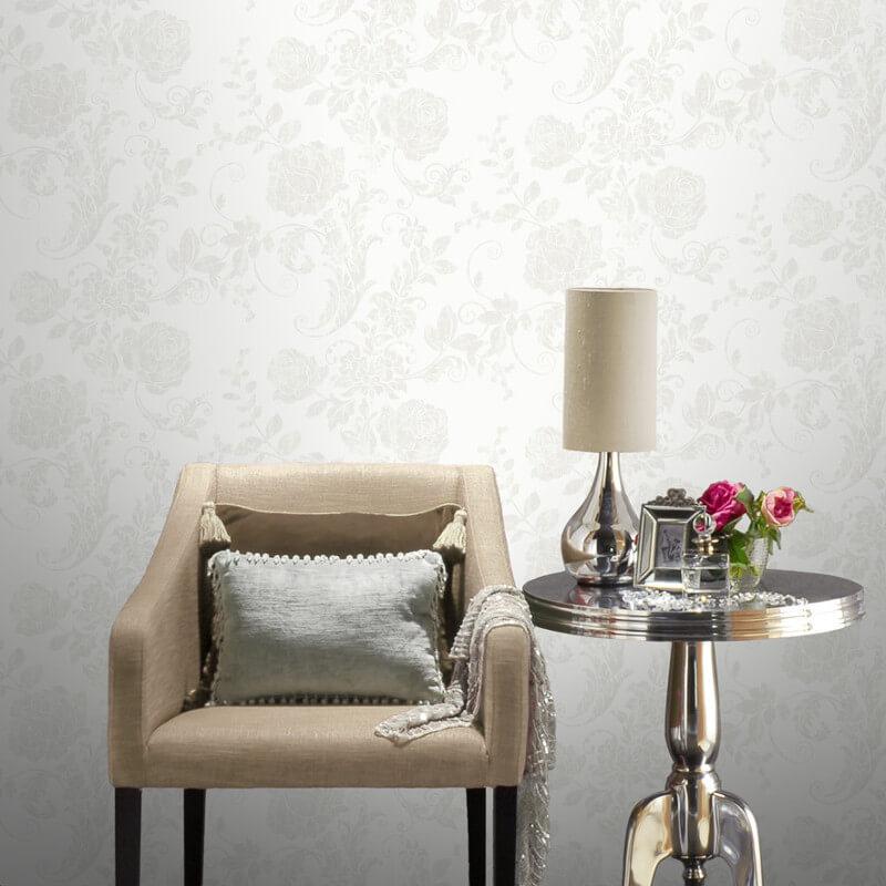 Rasch Incanto Floral Rose White Glitter Wallpaper - 308402