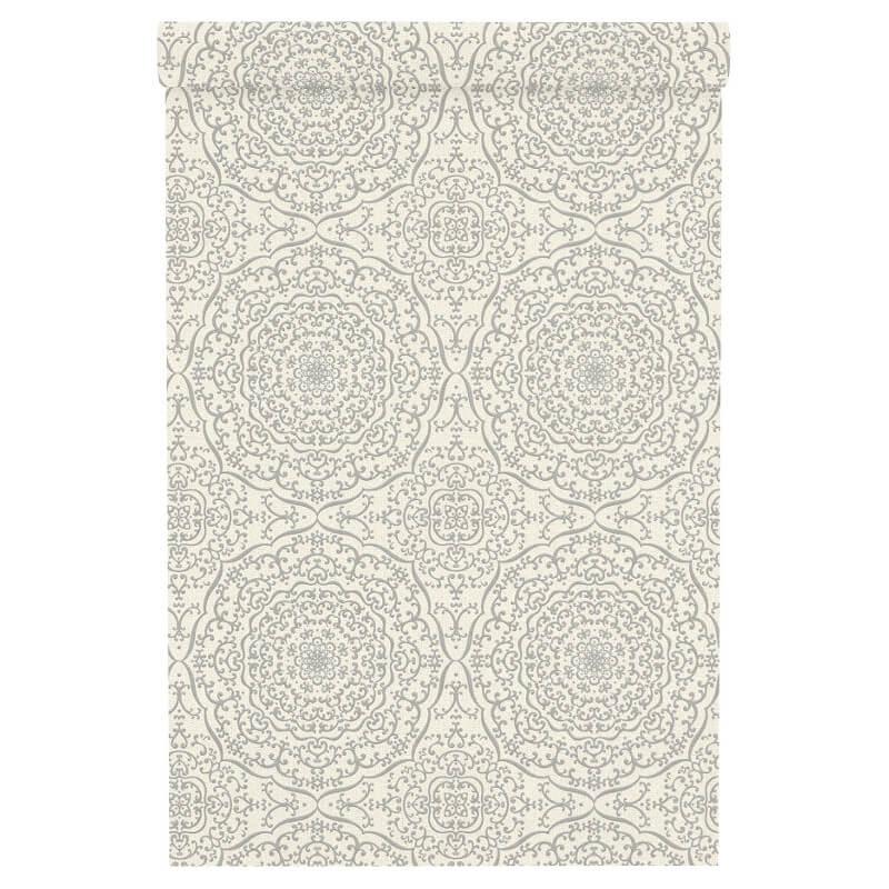 Freundin Moroccan Geo White/Silver Metallic Wallpaper - 442915