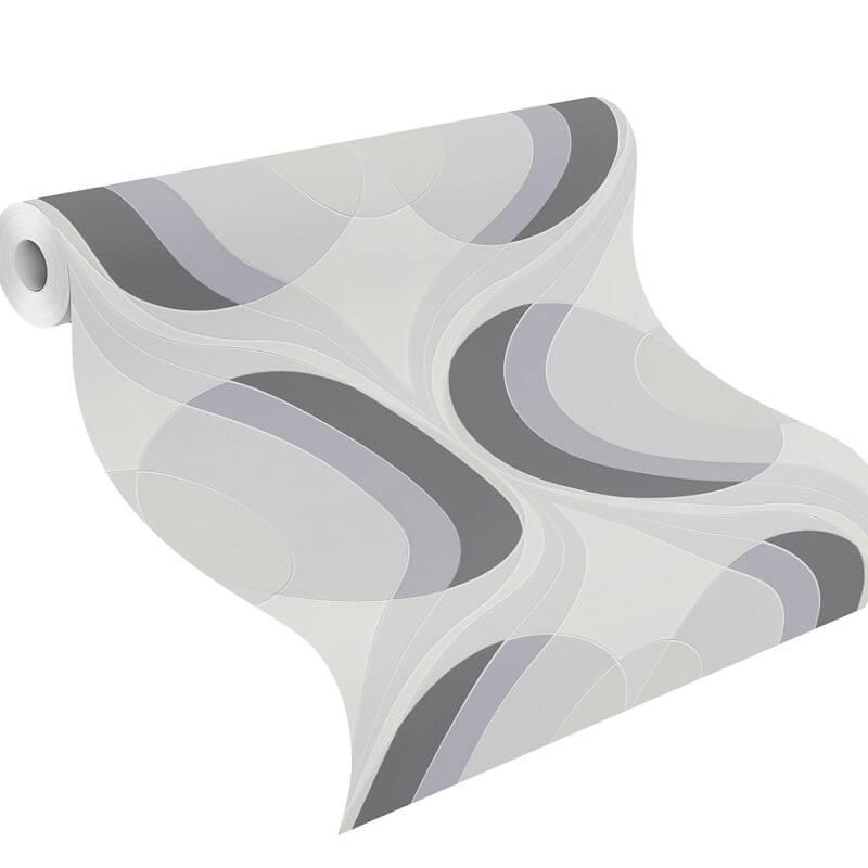 Rasch Retro Circles Silver/Grey Wallpaper - 804713