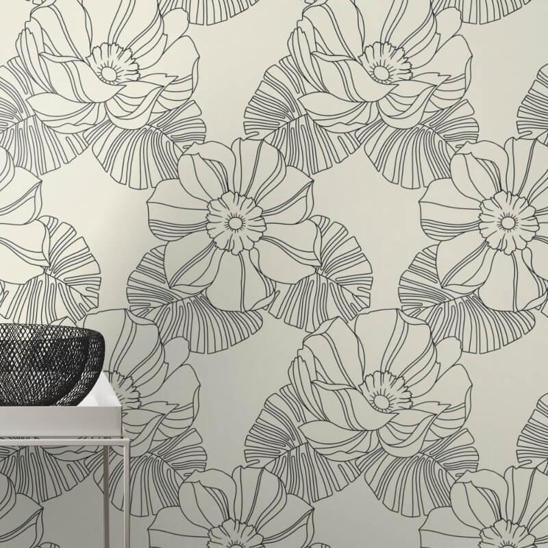 Rasch Retro Floral Black/White Wallpaper - 804904