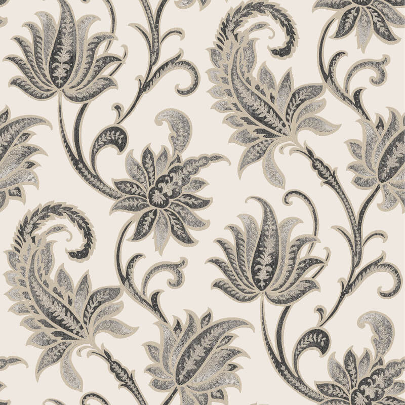 Rasch Sorrento Floral Trail Black/Gold Metallic Wallpaper - 519303