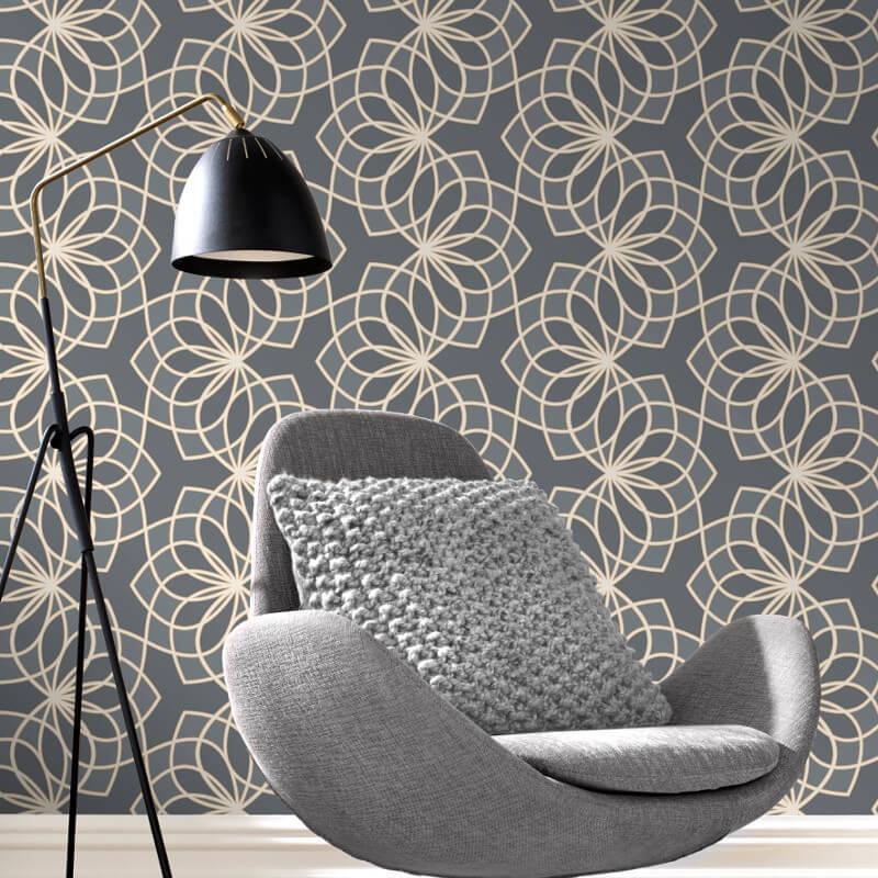 - Rasch Spiro Geometric Dark Grey Glitter Wallpaper - 304022