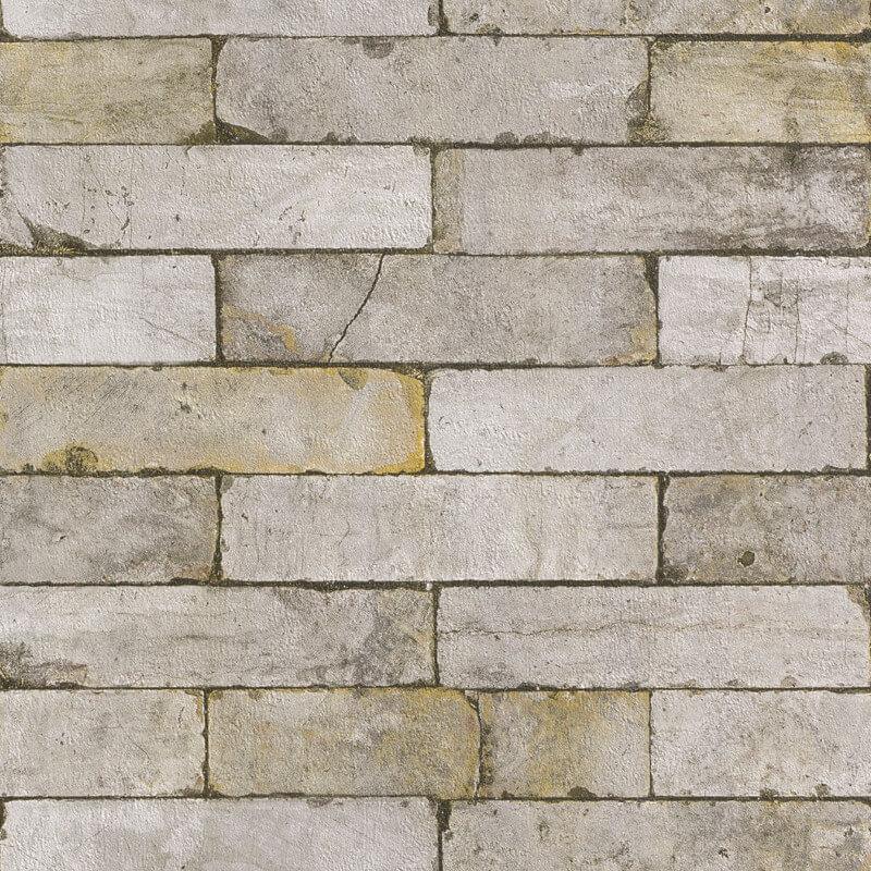 Rasch Stone Effect Grey/Brown Wallpaper - 203608