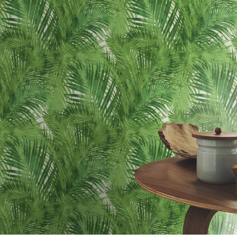 Rasch Tropical Leaves Green Wallpaper - 805314