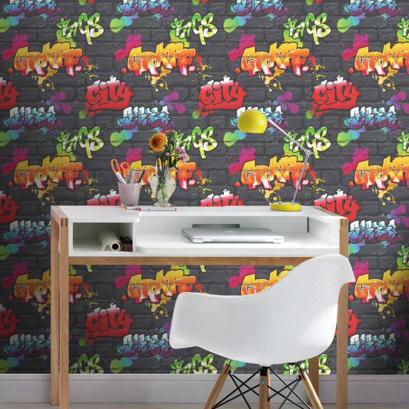 Rasch Urban Graffiti Multi Shades Wallpaper   237801